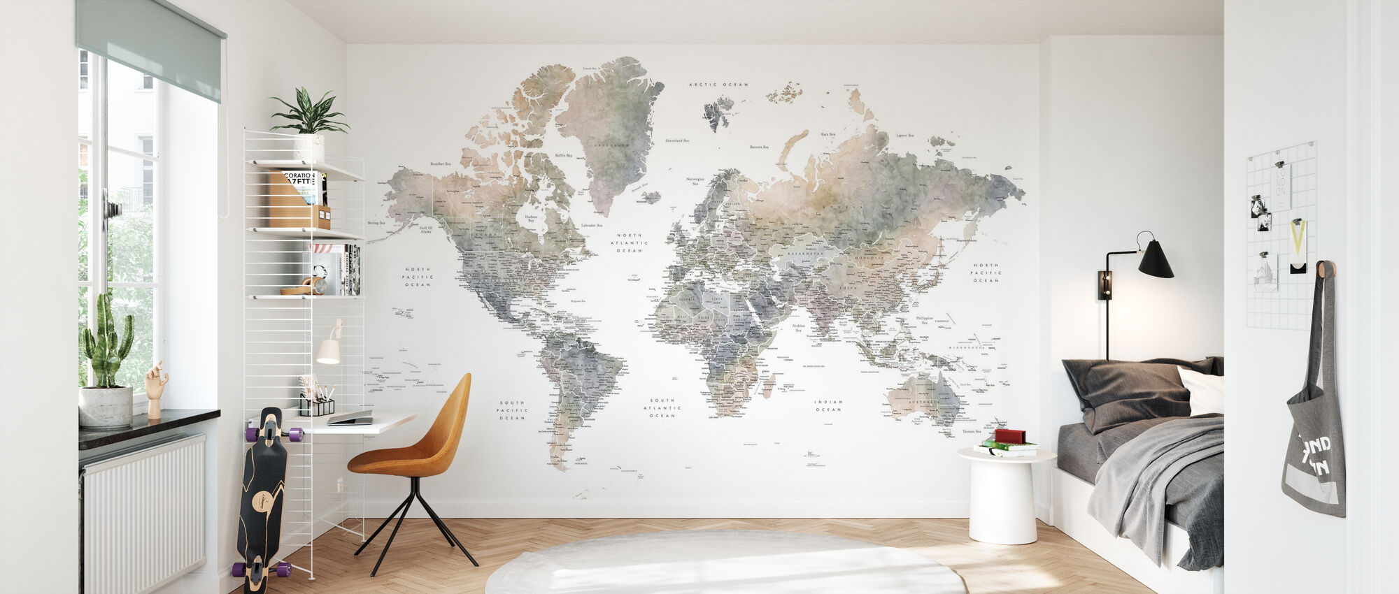 World Map with Cities - Wallpaper - Kids Room