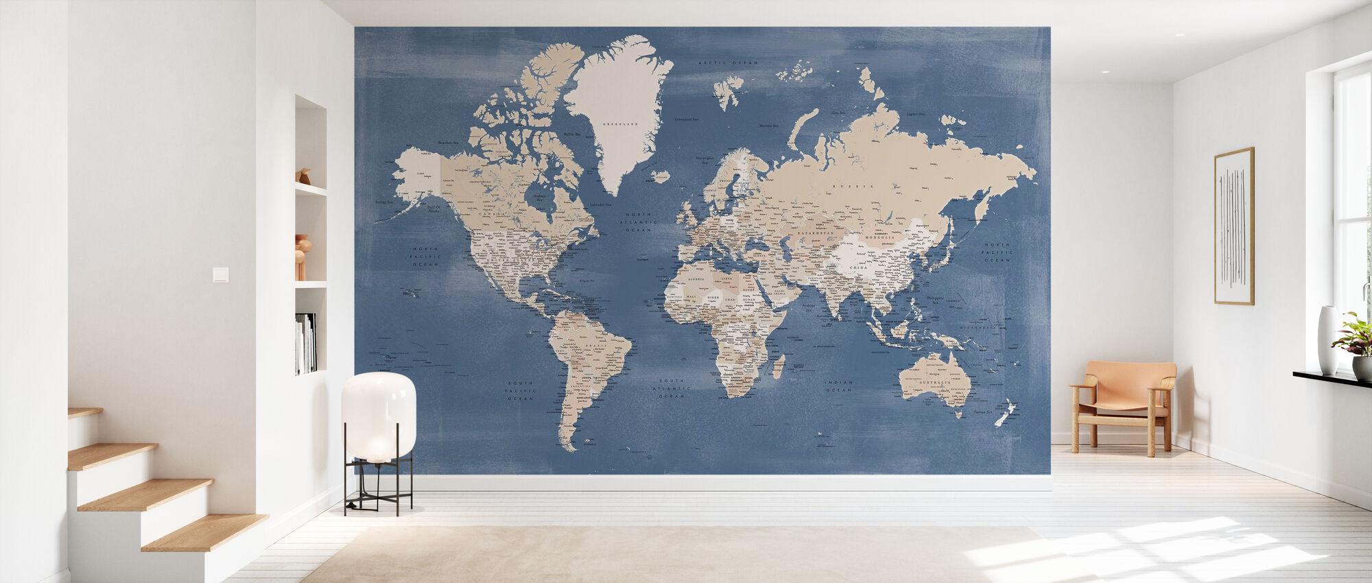 Weltkarte mit Städten - Tapete - Flur