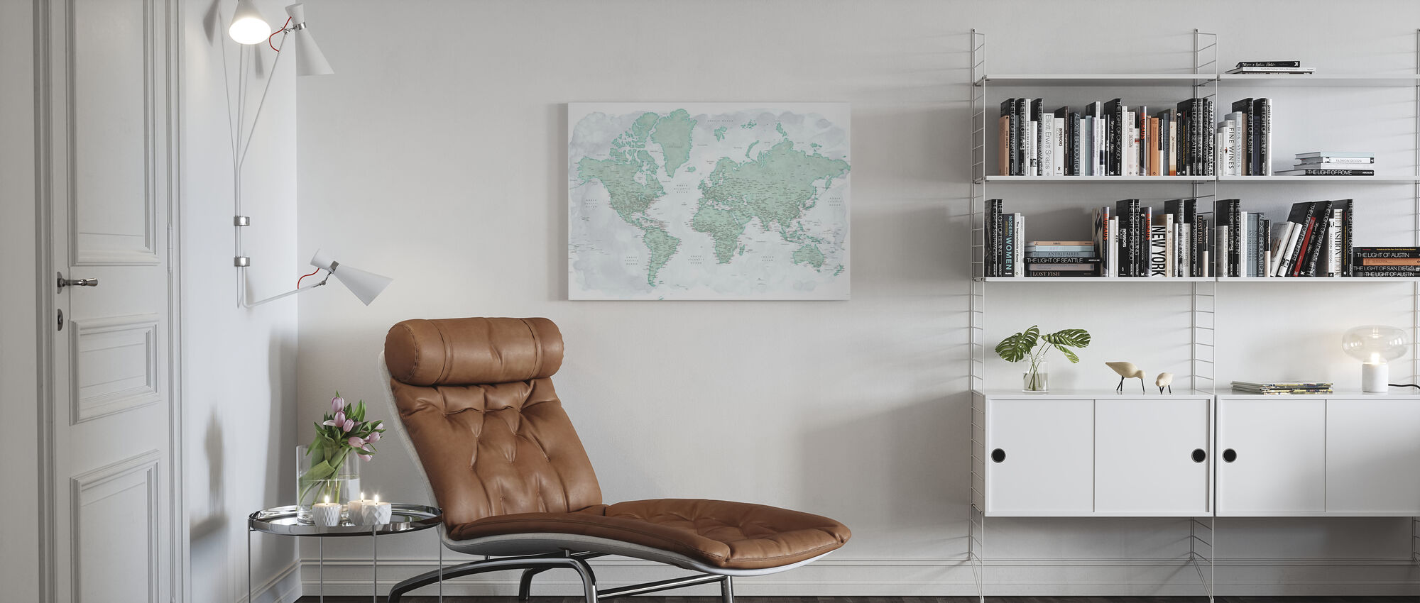 World Map with Cities - Canvas print - Living Room
