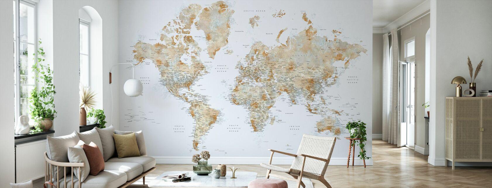 Carte du monde avec les villes - Papier peint - Salle à manger