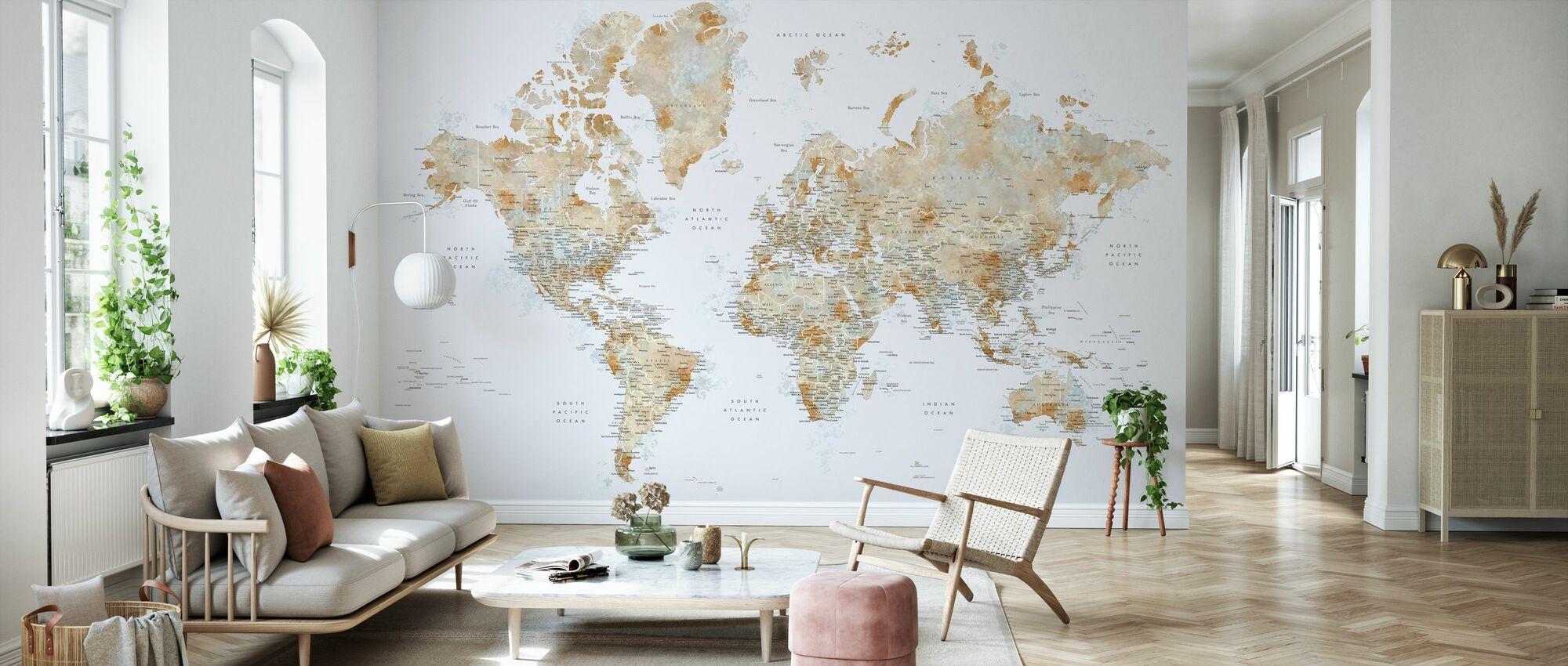 Weltkarte mit Städten - Tapete - Wohnzimmer