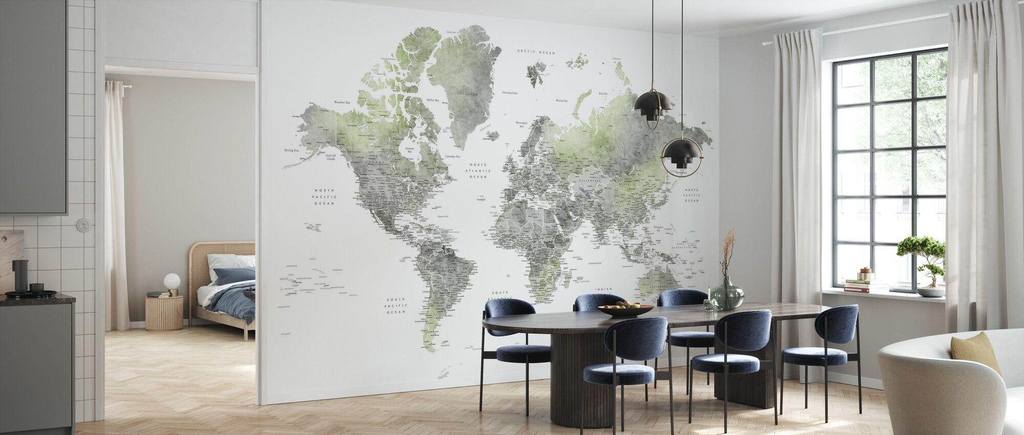 Weltkarte mit Städten - Tapete - Küchen