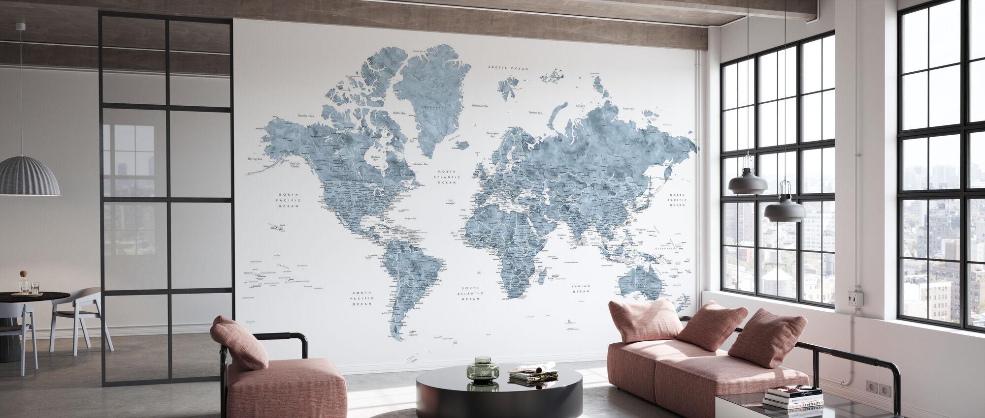 Weltkarte mit Städten - Tapete - Büro