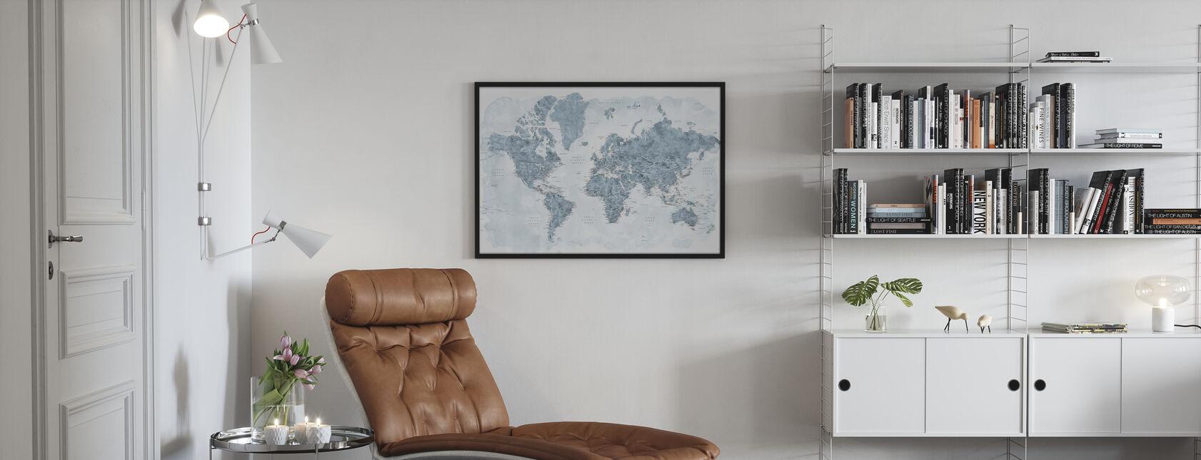 Mapa świata z miastami - Obraz w ramie - Pokój dzienny