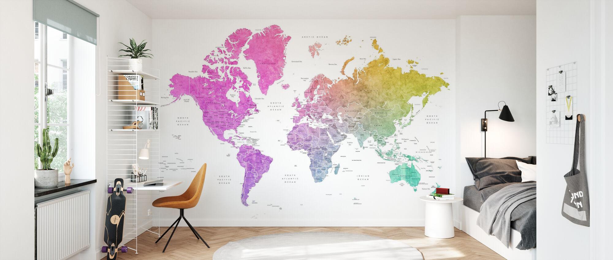 Weltkarte mit Ländern - Tapete - Kinderzimmer
