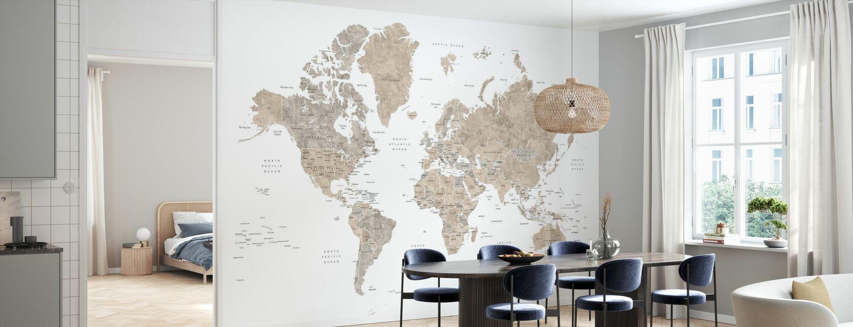 Carte du monde avec les pays - Papier peint - Cuisine