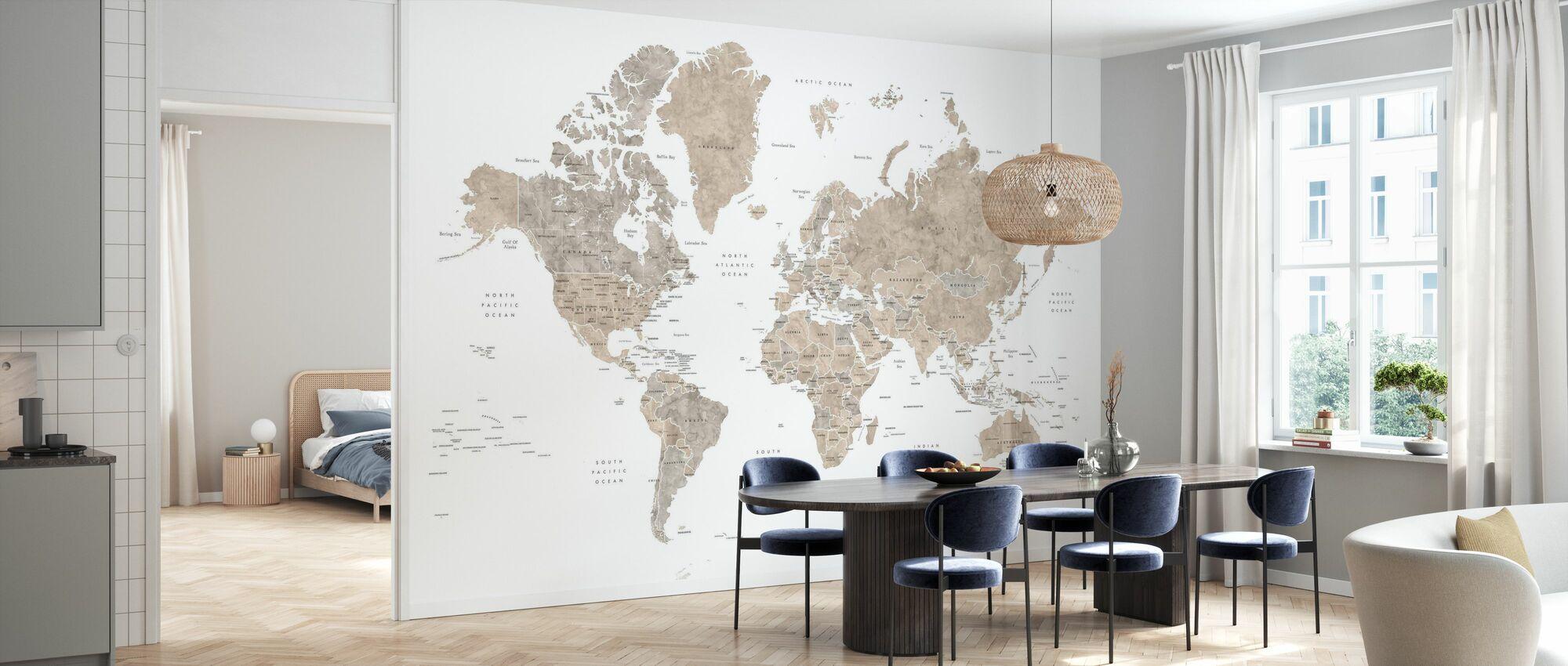 Weltkarte mit Ländern - Tapete - Küchen