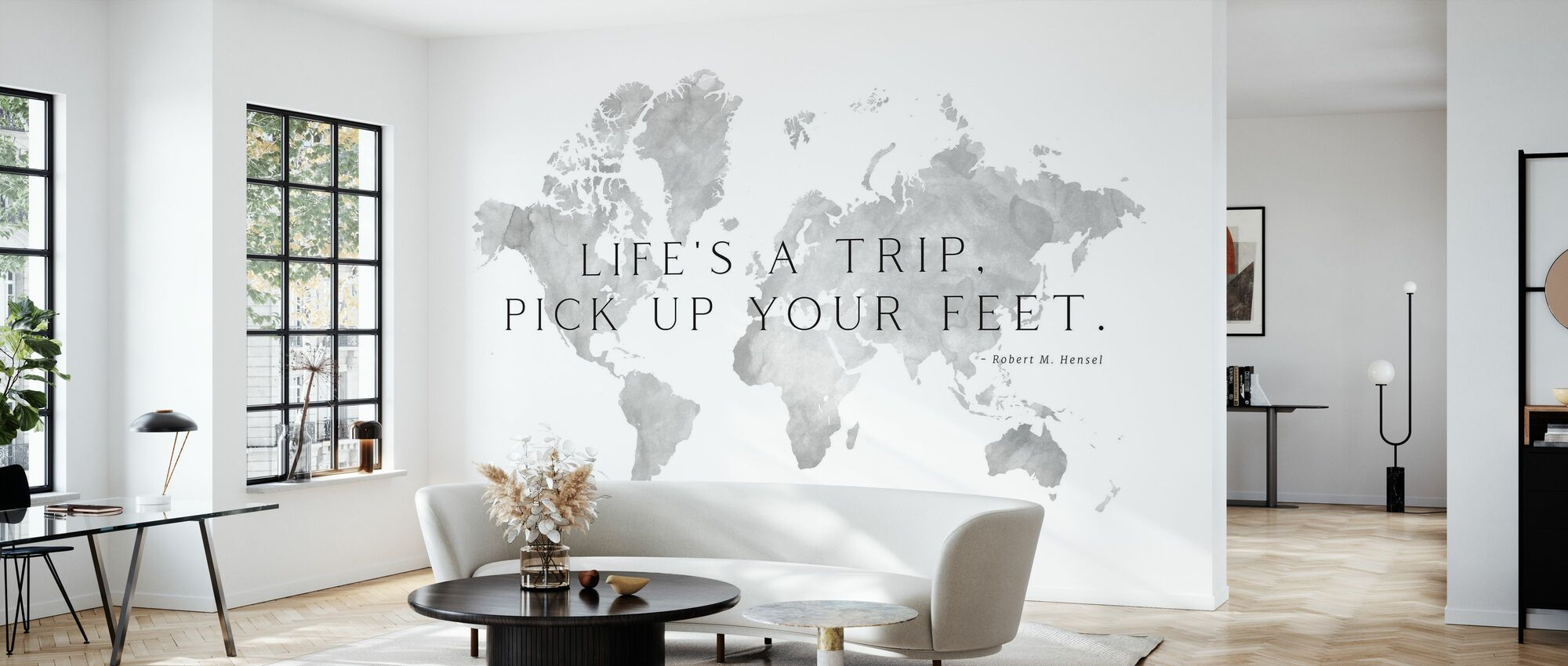 Weltkarte mit Hensel-Zitat - Tapete - Wohnzimmer