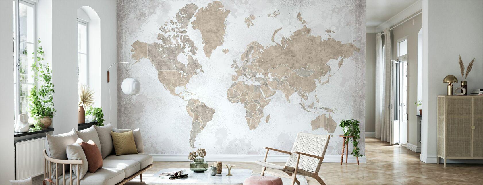 Maailmankartta ilman tekstiä - Tapetti - Olohuone