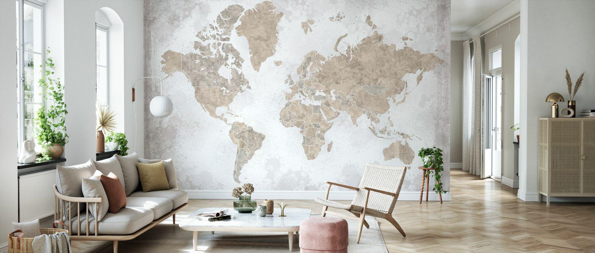 Weltkarte ohne Text - Tapete - Wohnzimmer