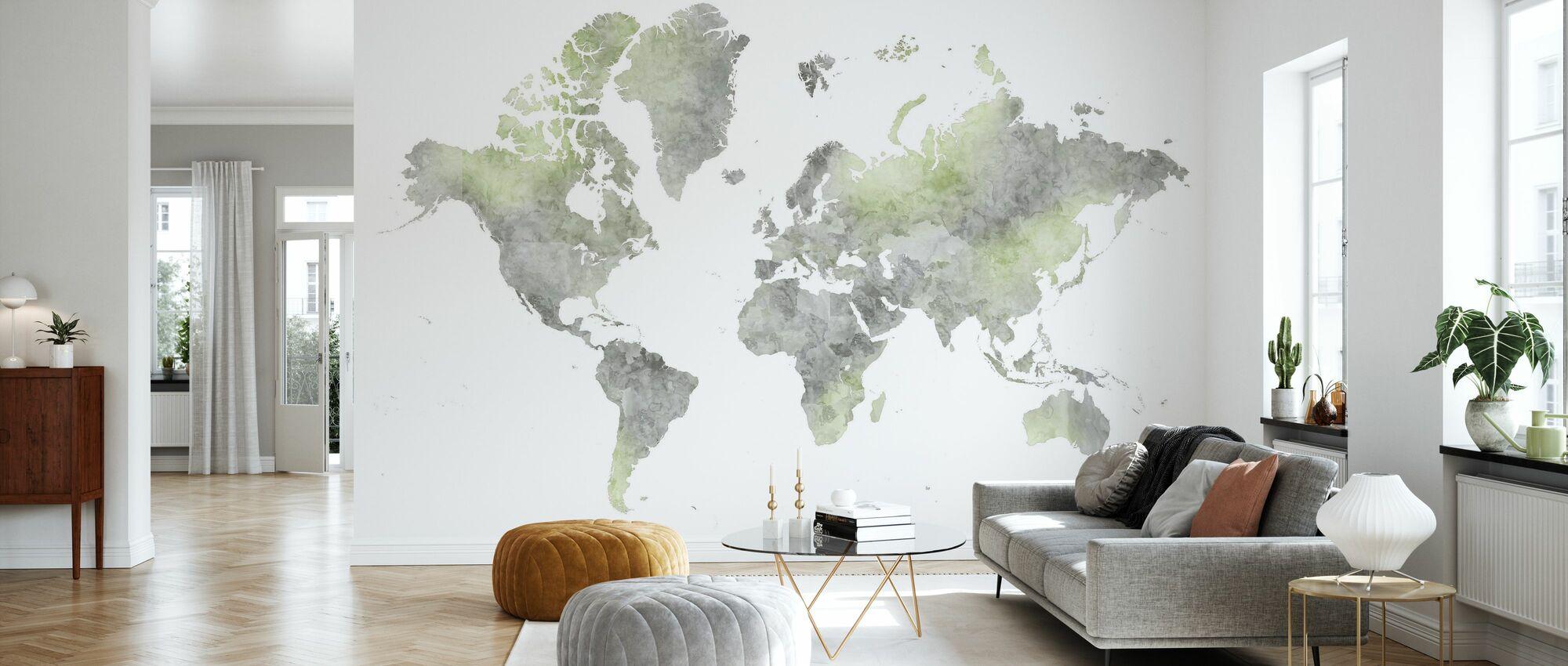 Weltkarte ohne Text II - Tapete - Wohnzimmer