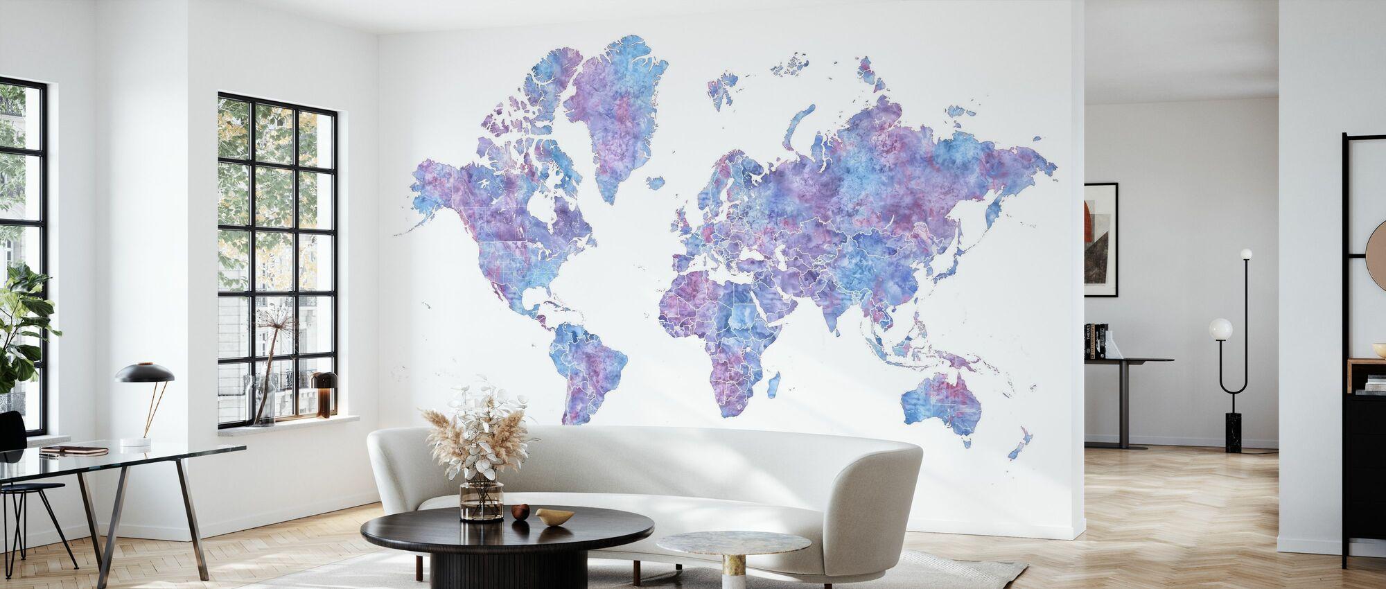 Weltkarte ohne Text IIII - Tapete - Wohnzimmer