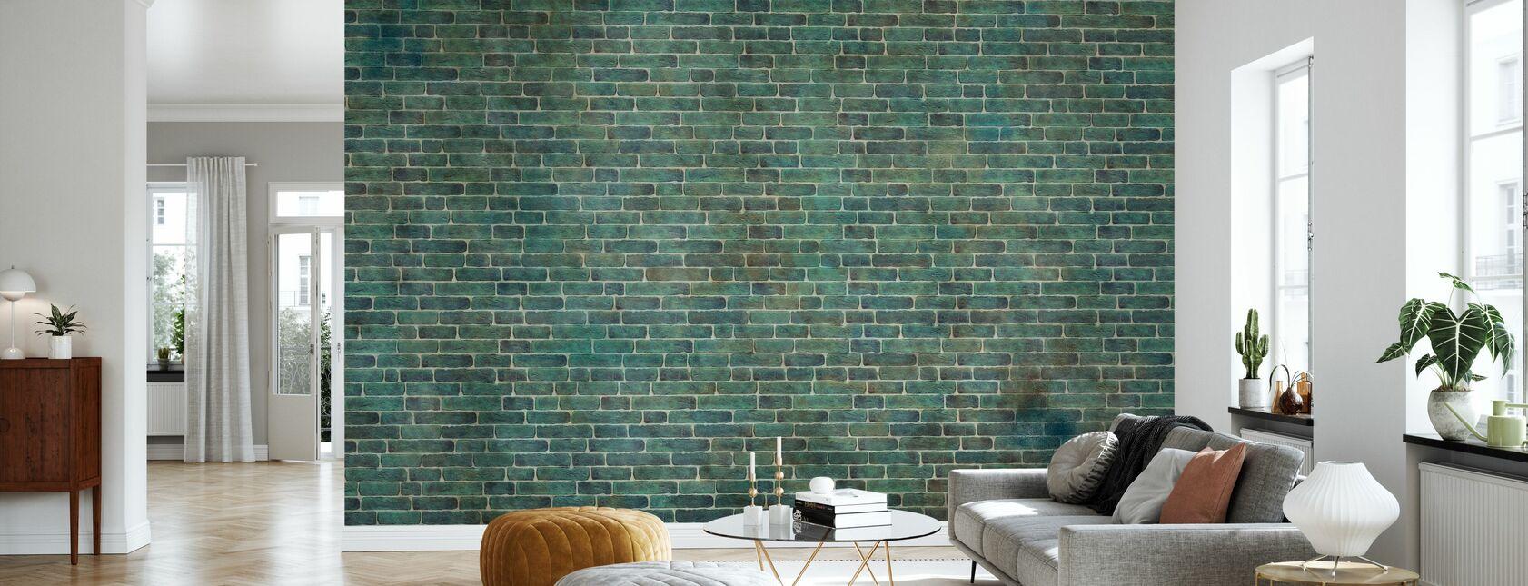 Muro di mattoni verdi - Carta da parati - Salotto