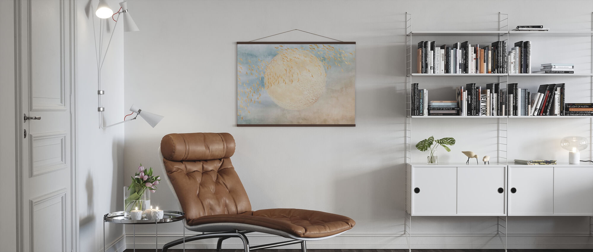 Swallows and Moon - Poster - Living Room