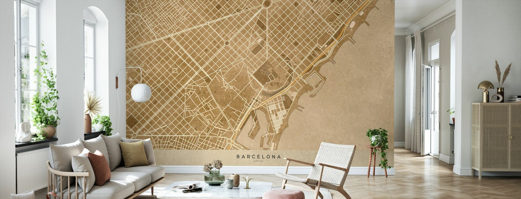 Barcelona Map - Wallpaper - Living Room