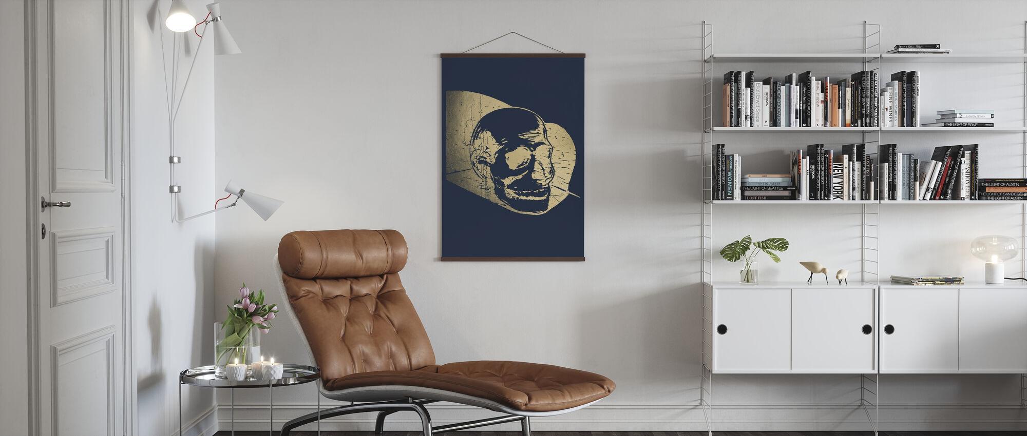 Goldfolien-Capitulum IV auf Blau - Poster - Wohnzimmer