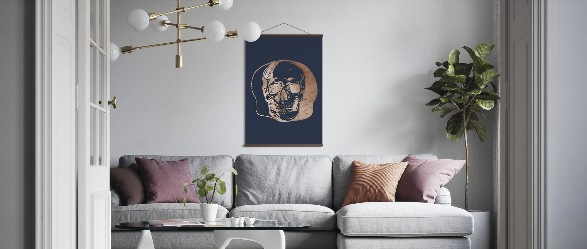Rotgold Capitulum II auf Blau - Poster - Wohnzimmer