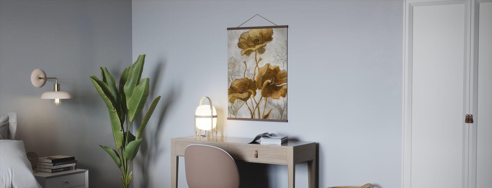 Goud Zilver Bloemveld II - Poster - Kantoor