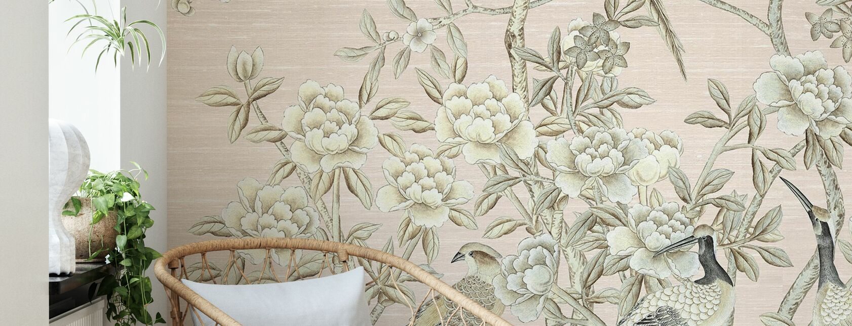 Bird Party in Pink Champagne - Wallpaper - Living Room