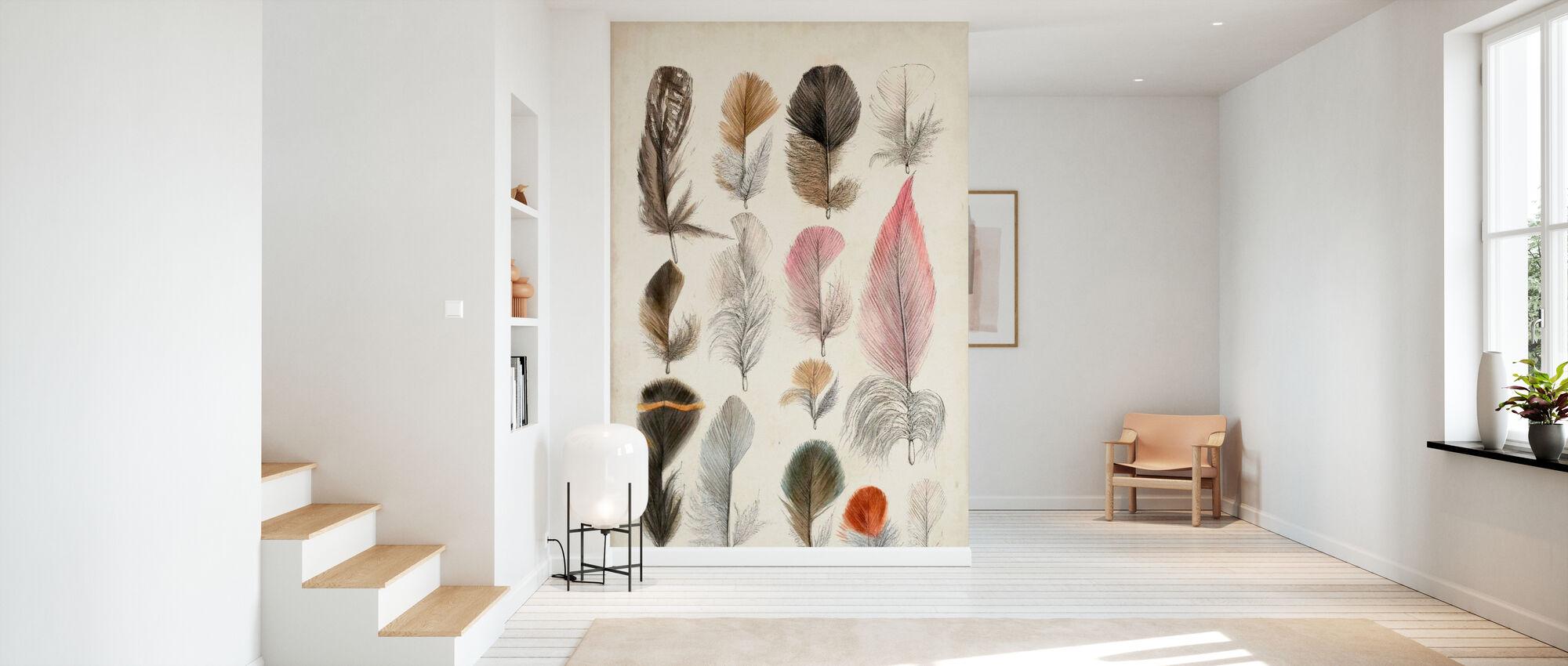 Antique Bird Feathers III - Wallpaper - Hallway