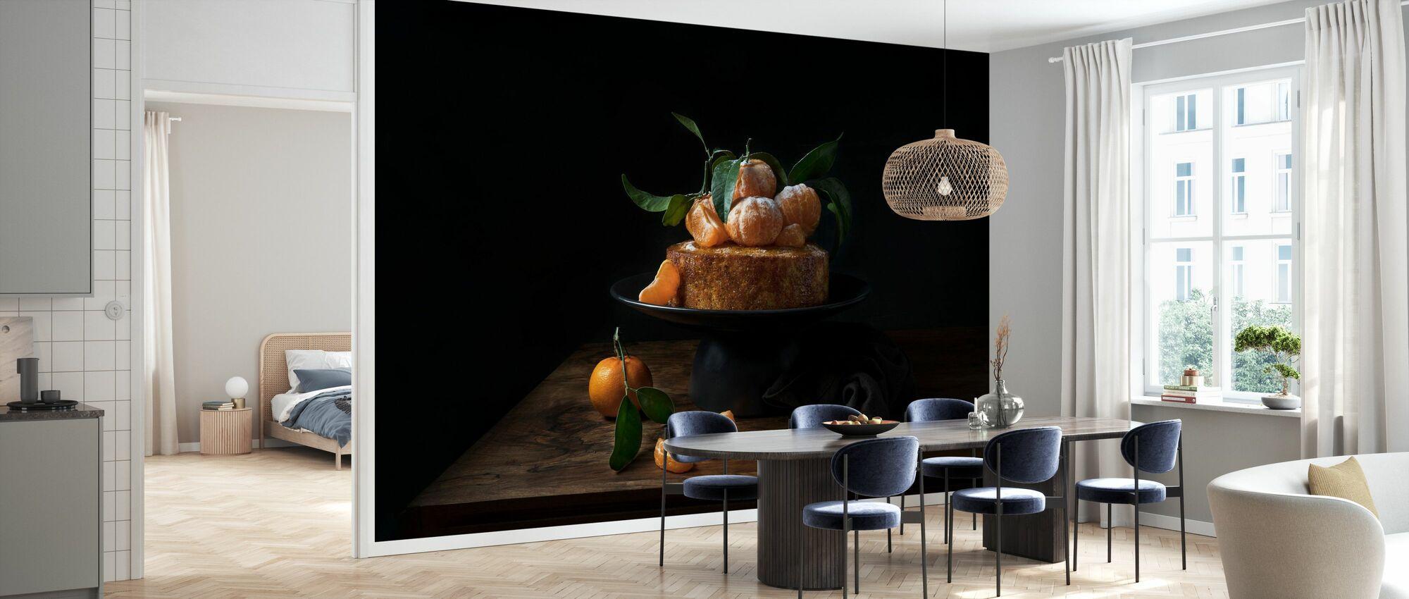 Polenta-Kuchen mit süßen Mandarinen - Tapete - Küchen