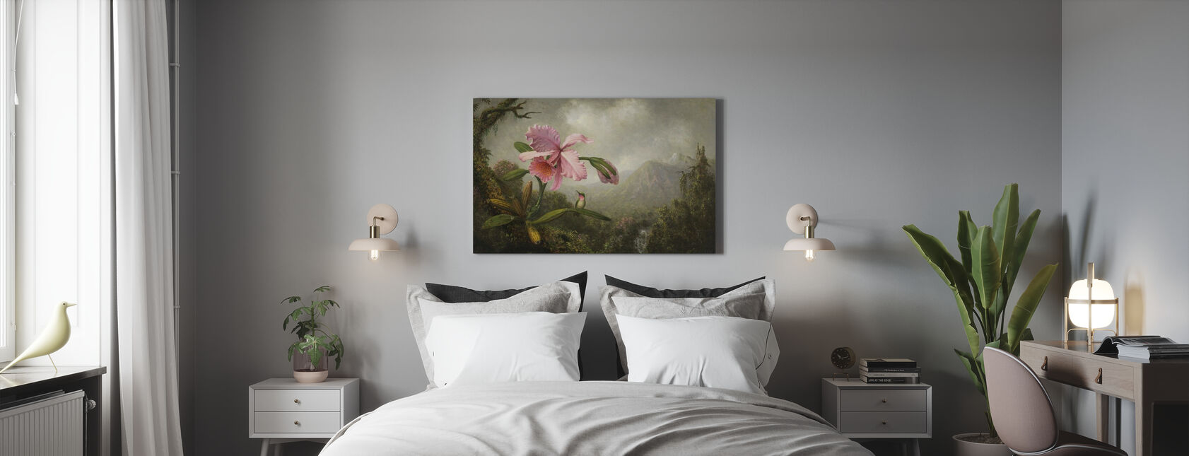 Orchid and Hummingbird - Canvas print - Bedroom