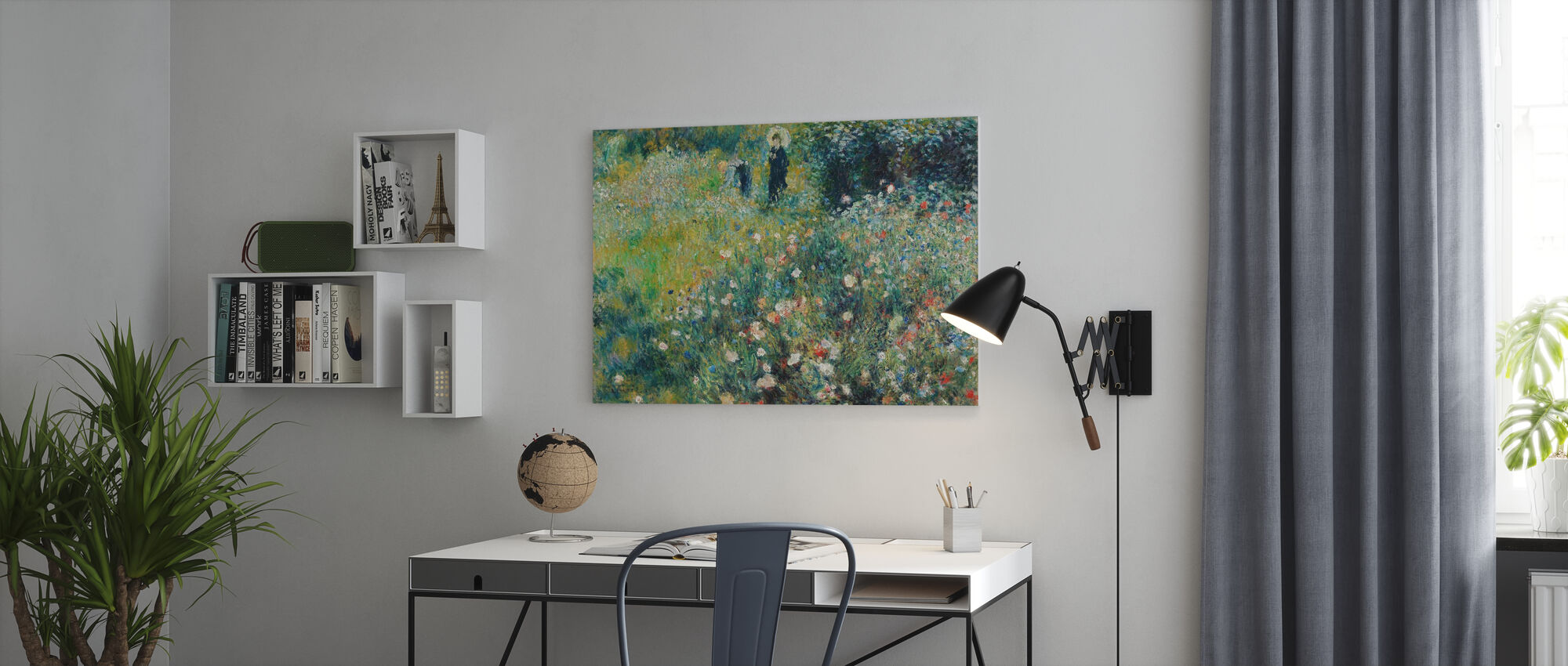 Woman with a Parasol in a Garden - Canvas print - Office