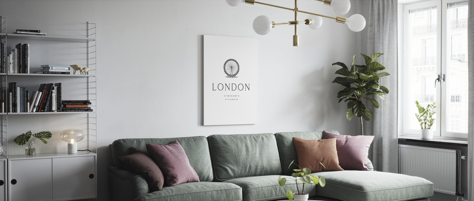 London City Coordinates - Canvas print - Living Room