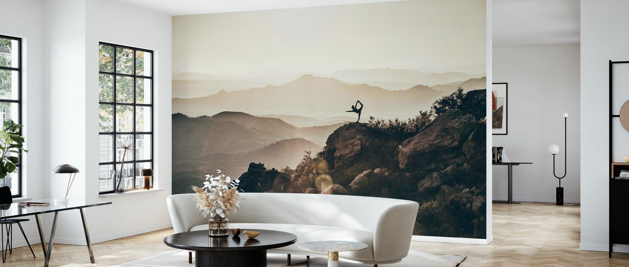 Woman on Rocky Mountains - Wallpaper - Living Room