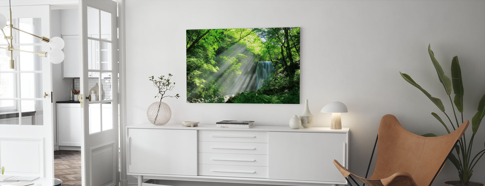 Forest Waterfall - Canvas print - Living Room