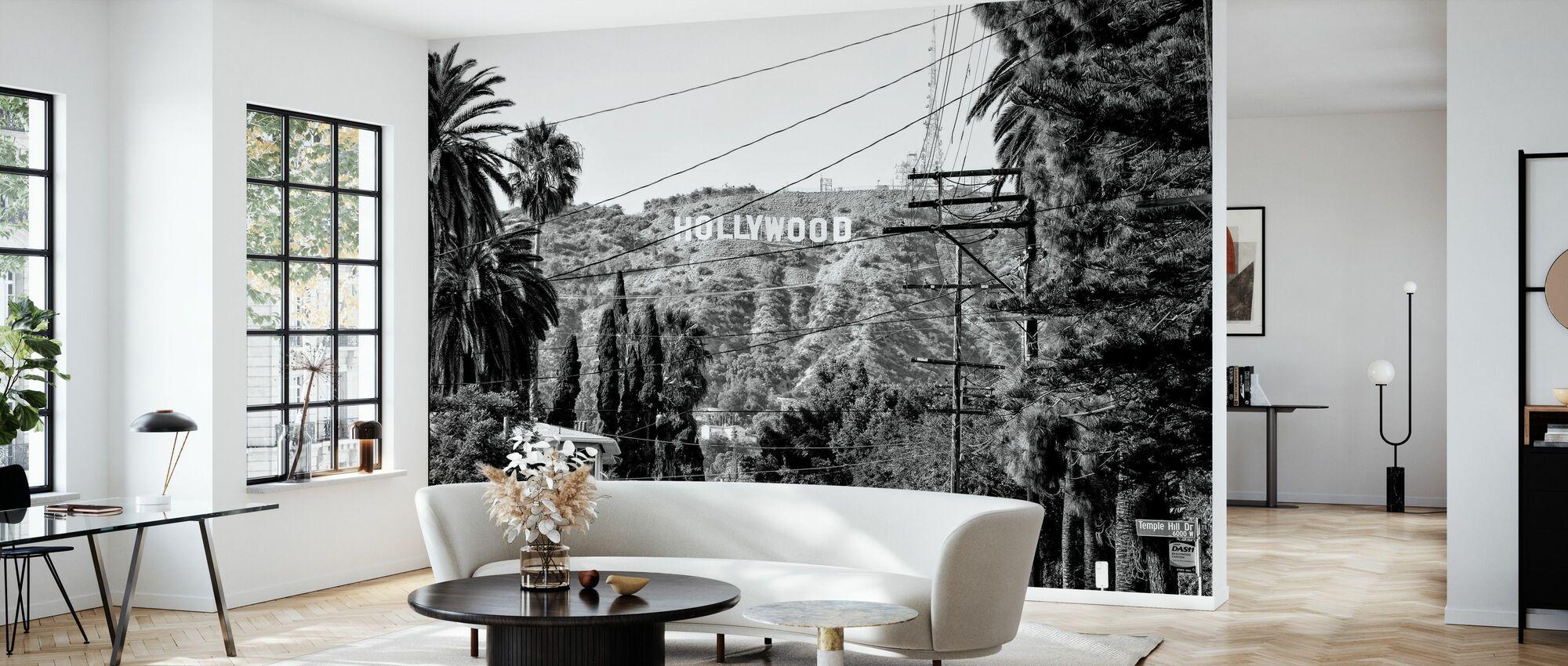 Black California - Hollywood Sign - Wallpaper - Living Room