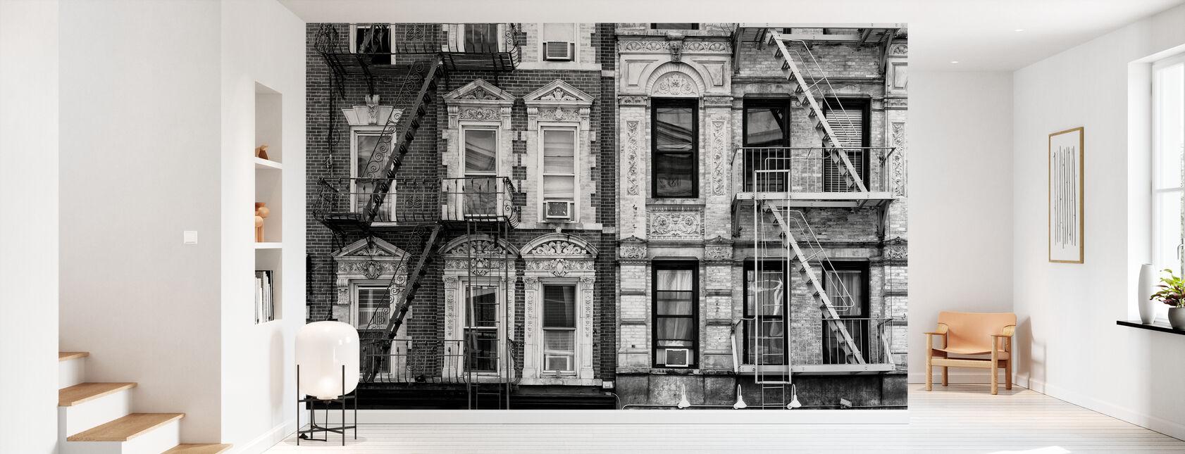 Manhattan noir - Deux Escaliers d'évacuation d'incendie - Papier peint - Entrée