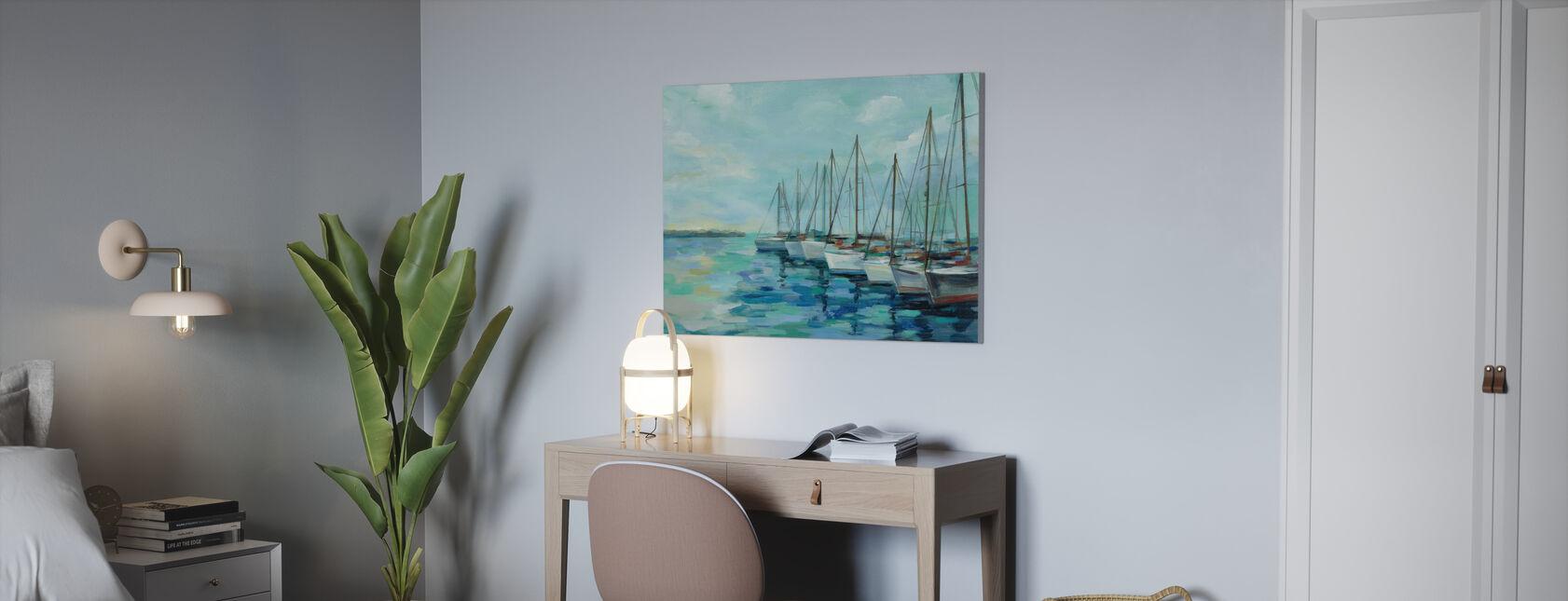 Vågbrytare och båtar - Canvastavla - Kontor