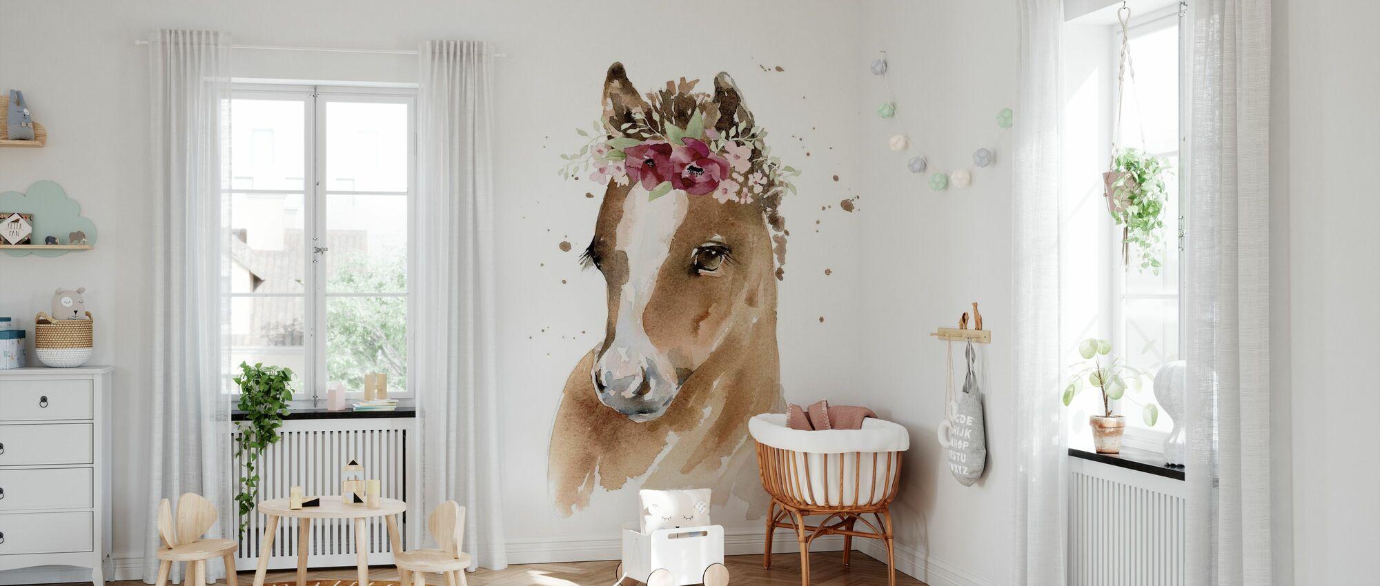 Florales Pony - Tapete - Babyzimmer