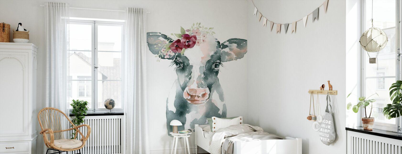 Floral Cow - Wallpaper - Kids Room