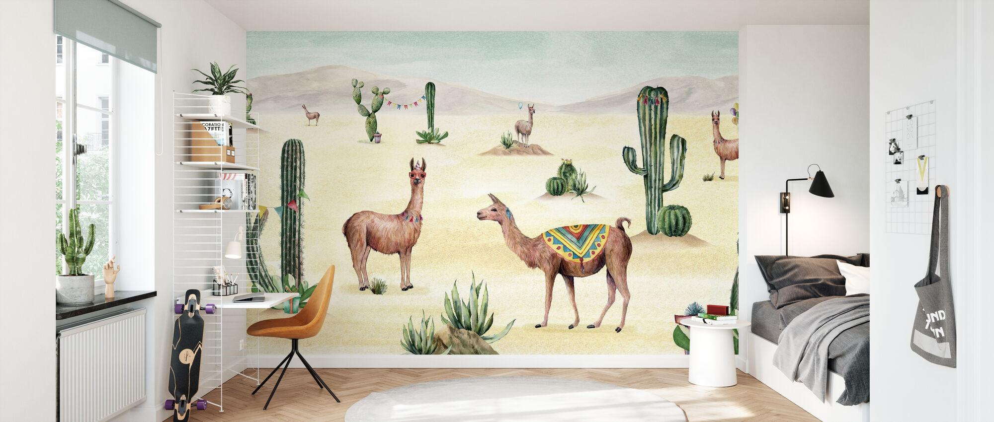 Laughing Lamas - Wallpaper - Kids Room