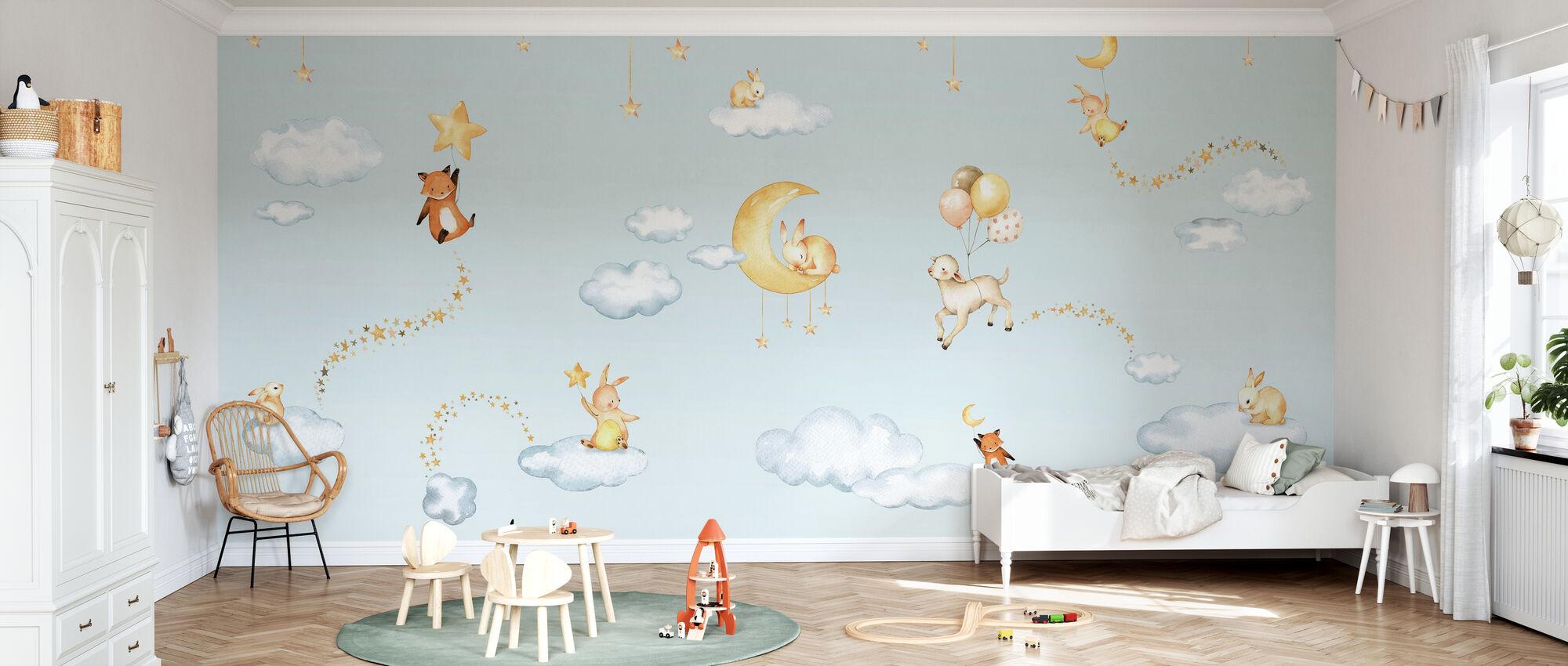 Sweet Dreams - Blauw - Behang - Kinderkamer