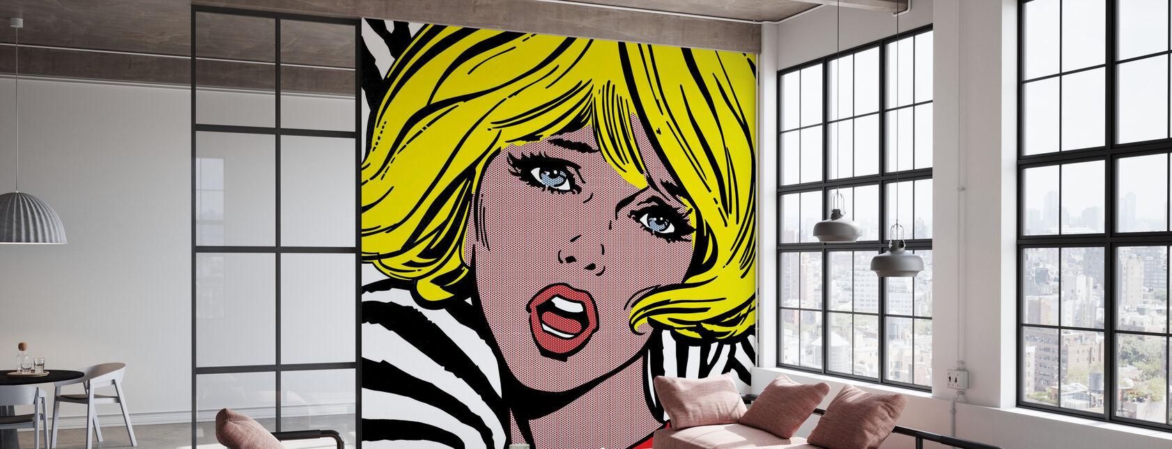 Pige på Zebra baggrund - Tapet - Kontor