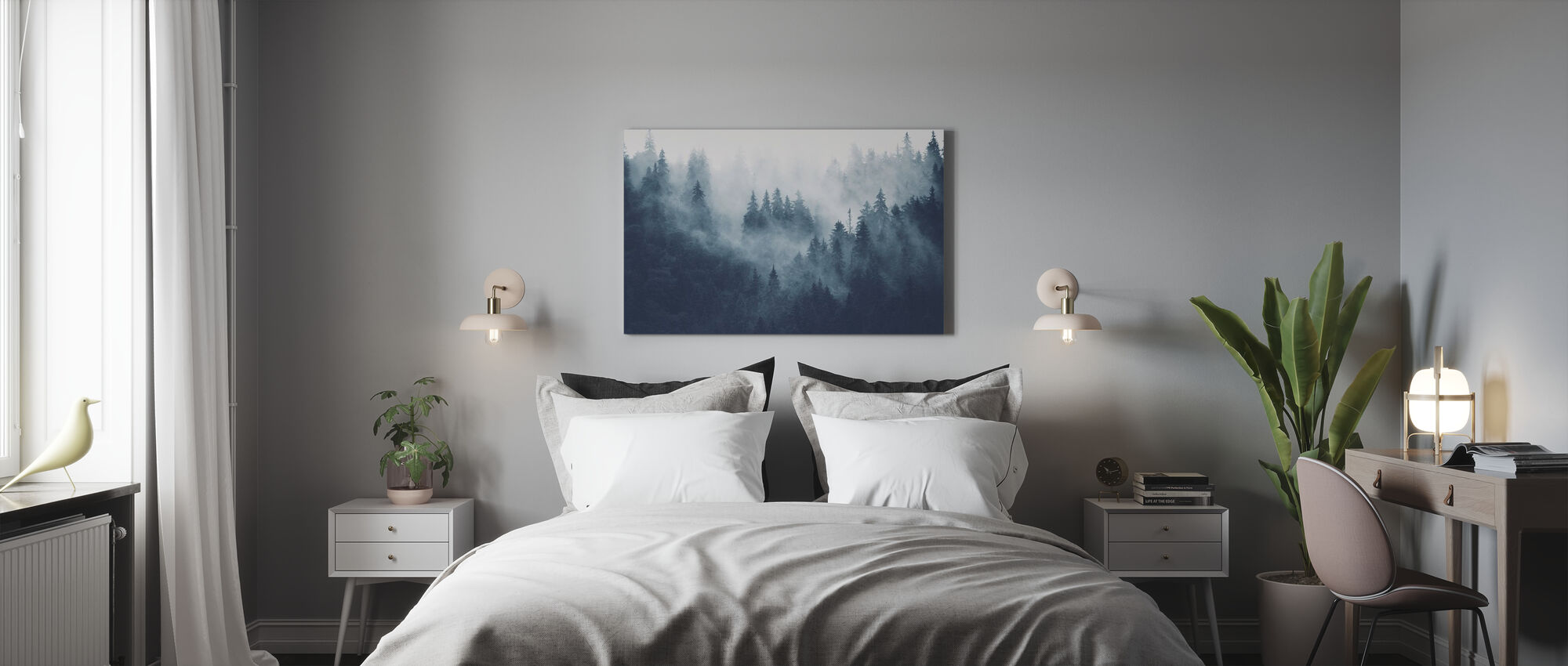 Foggy Forest - Blue - Canvas print - Bedroom