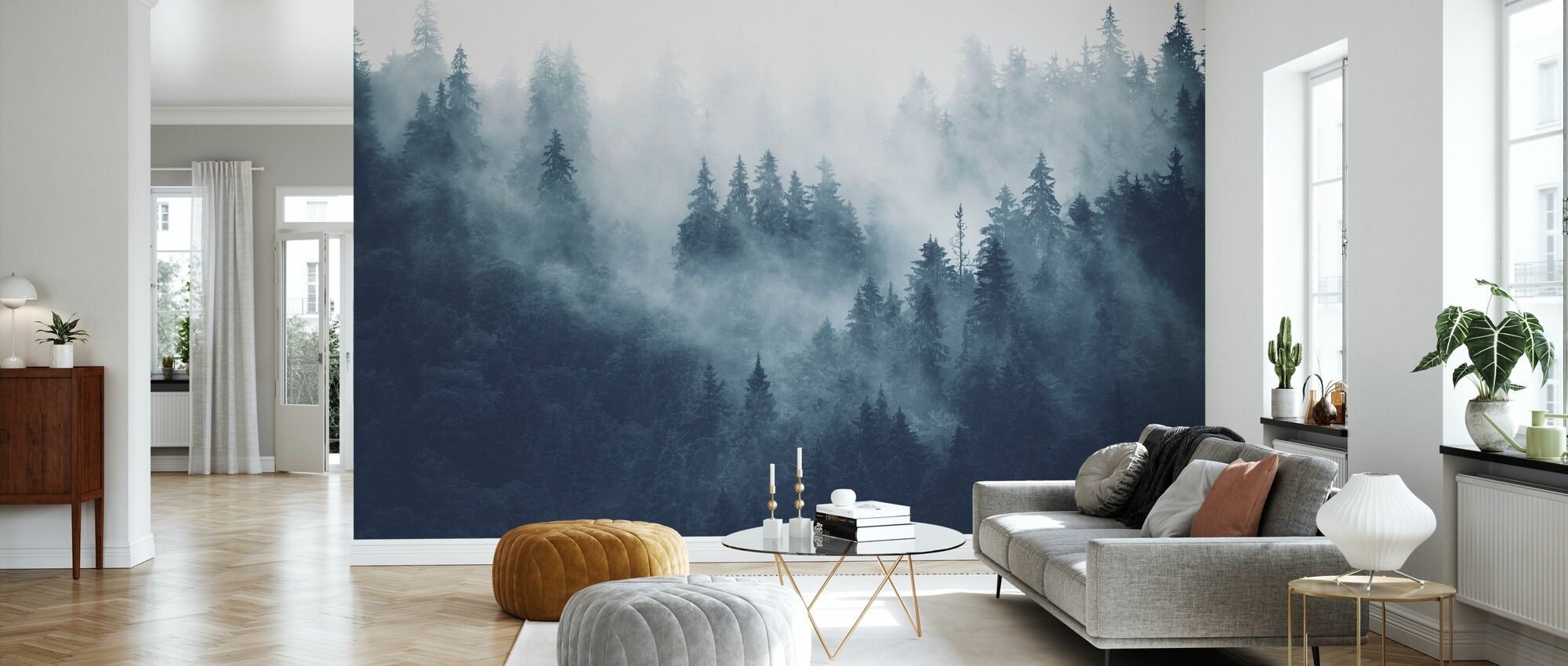 Foggy Forest - Blue - Wallpaper - Living Room