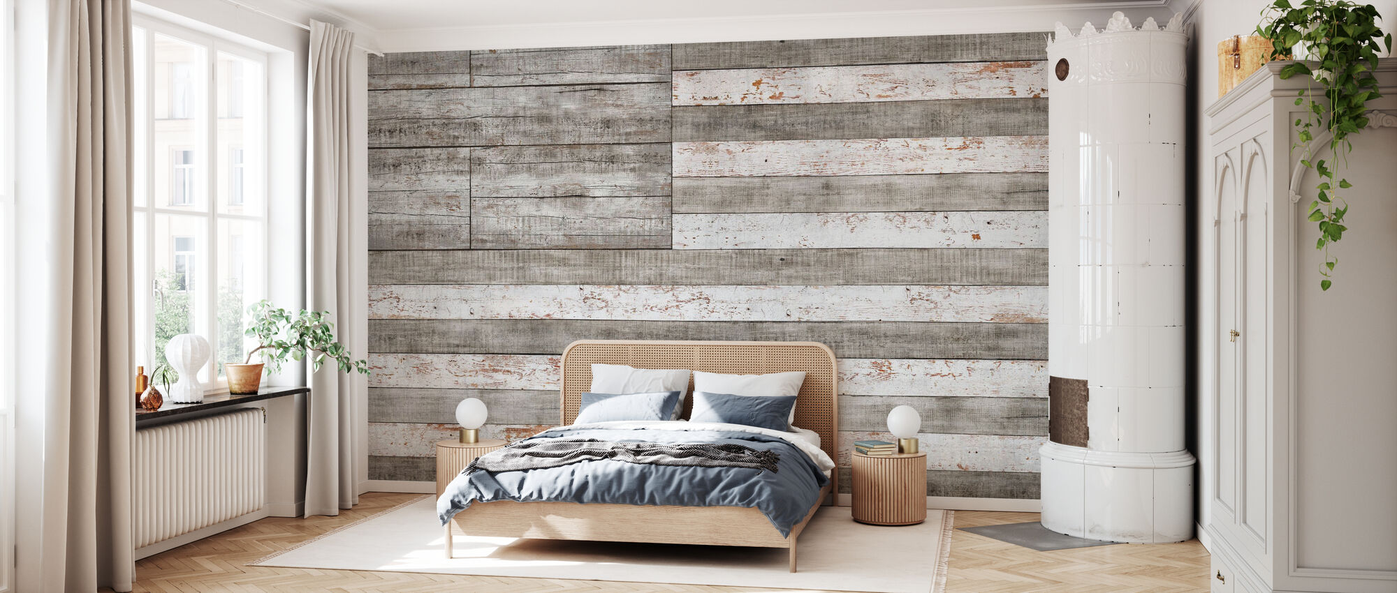 Stars and Stripes in White - Wallpaper - Bedroom