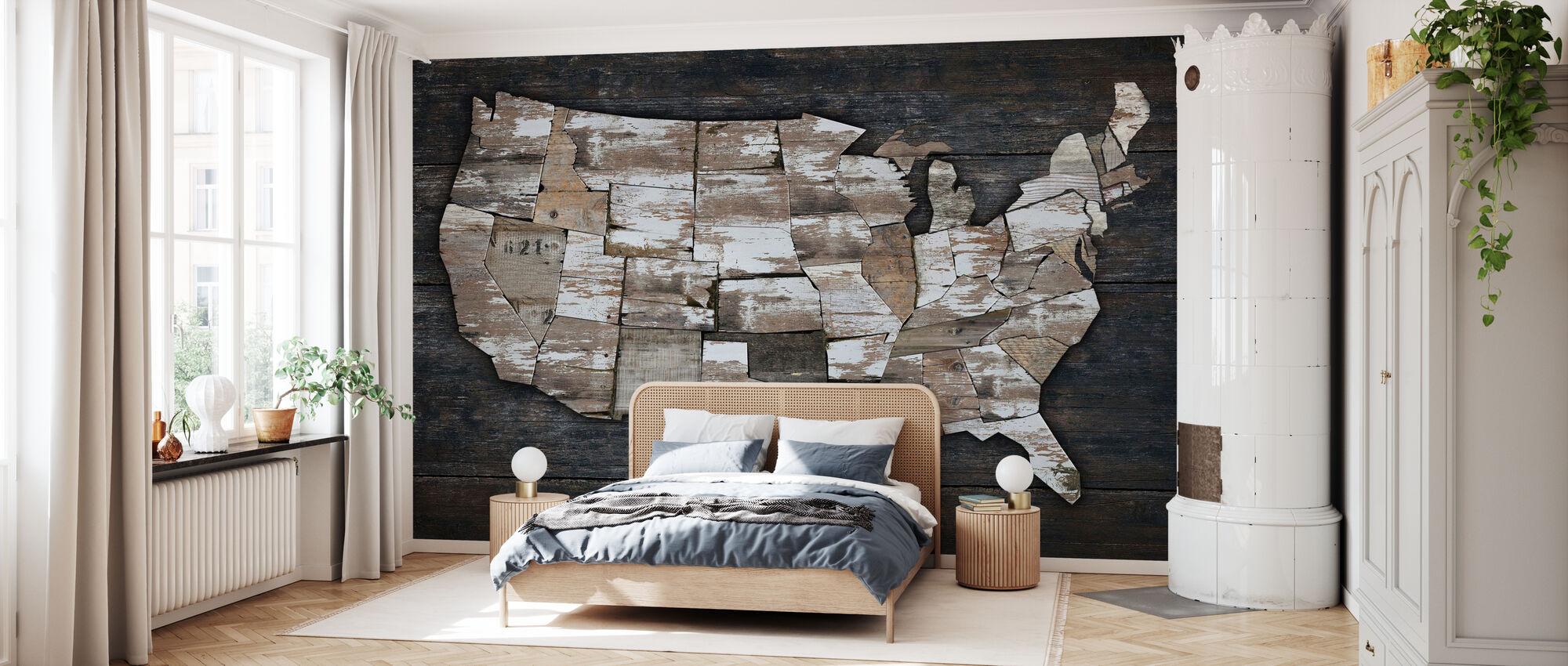 Karte der USA II - Tapete - Schlafzimmer