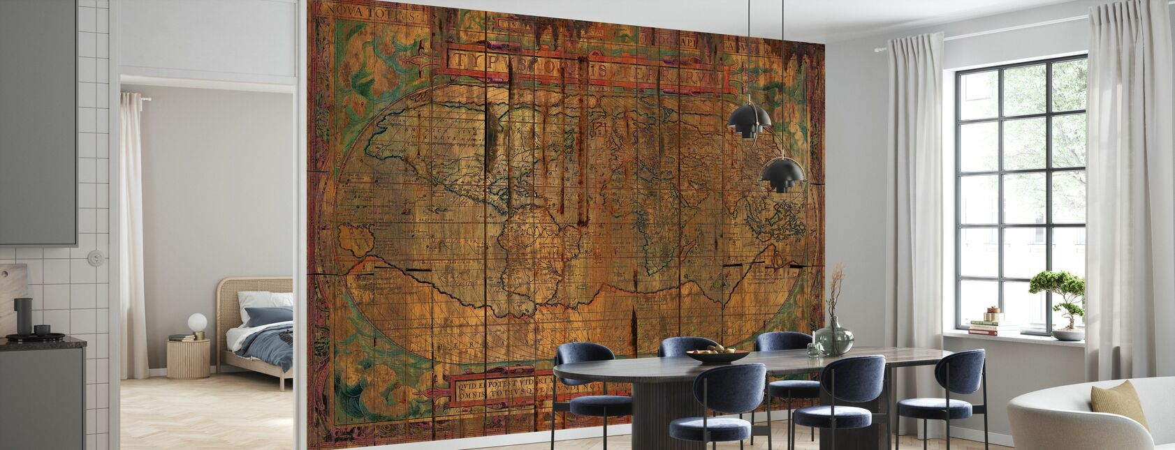 Distressed Old Map - Wallpaper - Kitchen