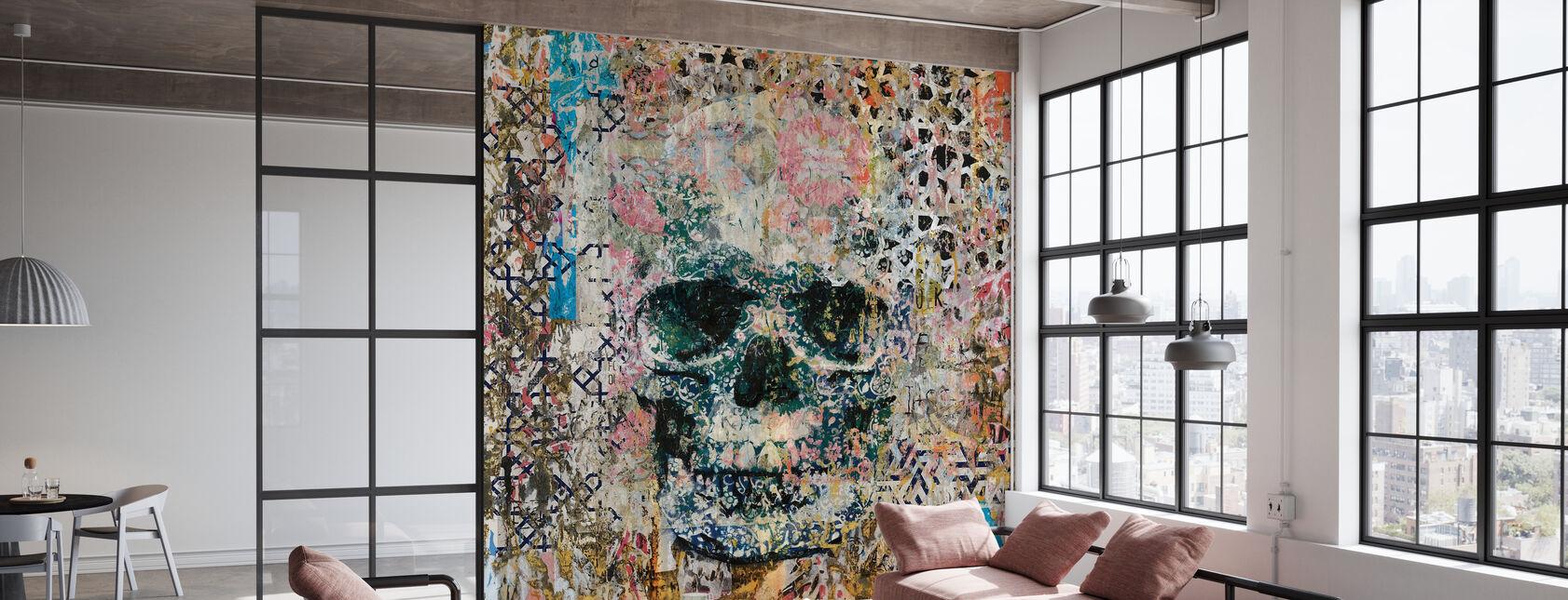 Oude Skull Memories - Behang - Kantoor