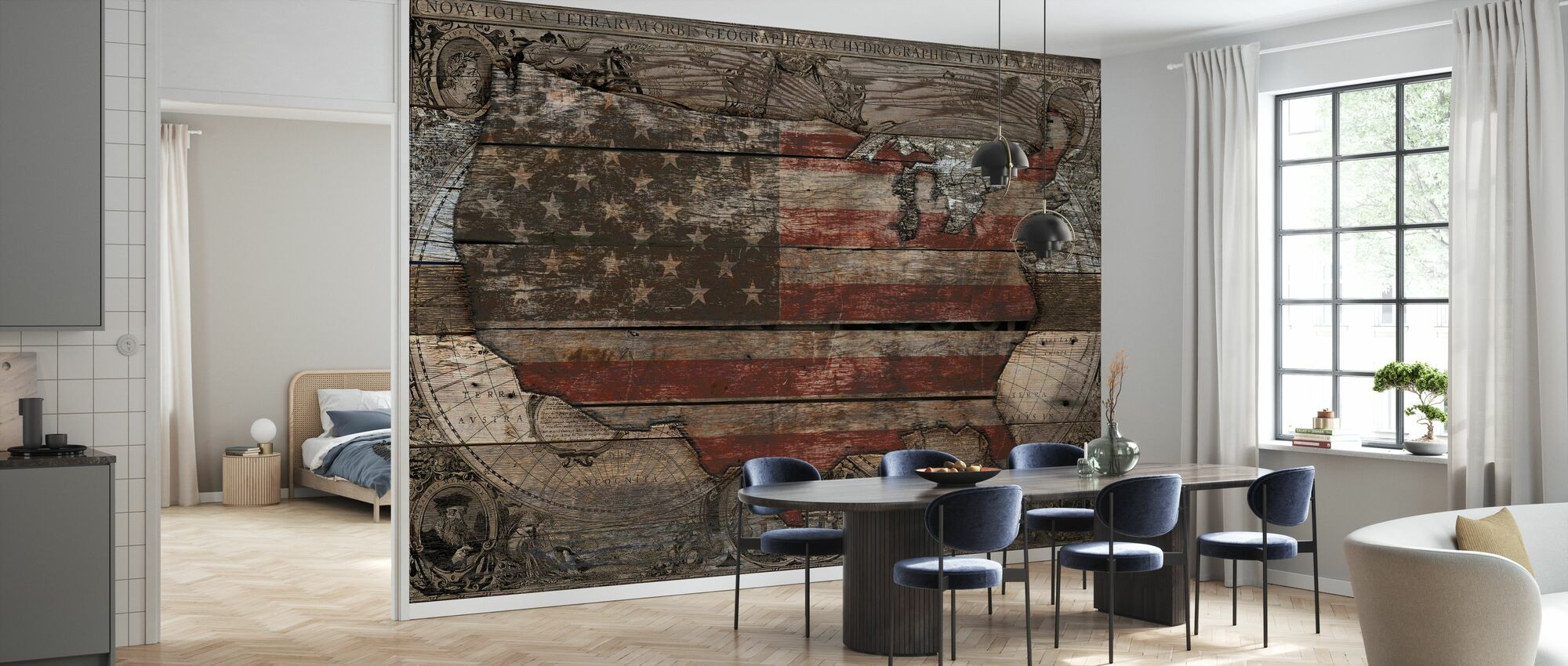 USA Map - Old Country - Wallpaper - Kitchen
