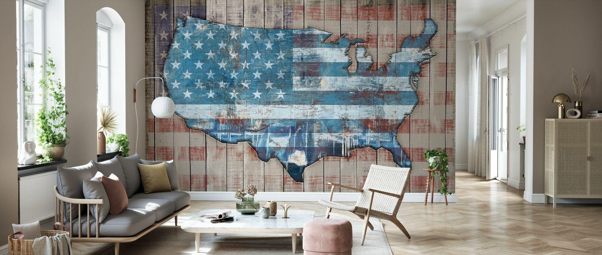USA Map - Sky - Wallpaper - Living Room