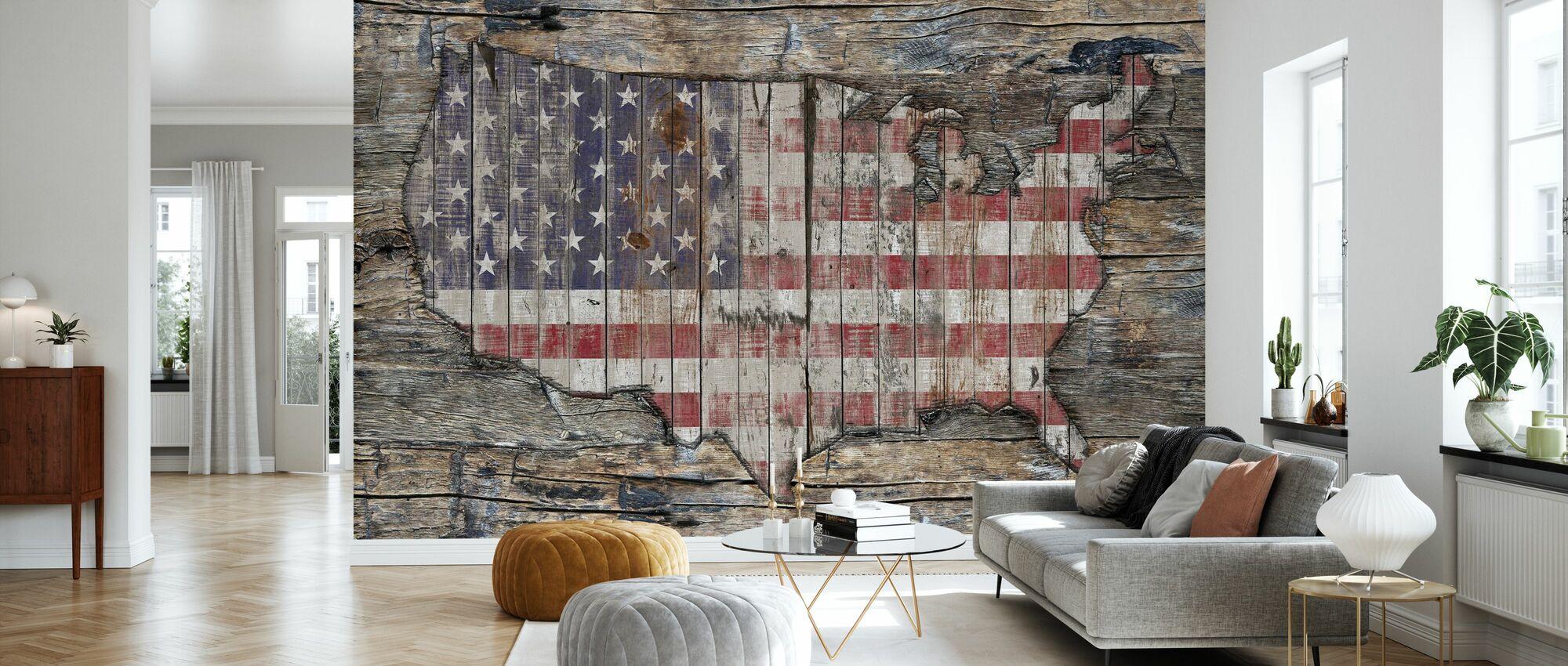 USA Map - Western North America - Wallpaper - Living Room