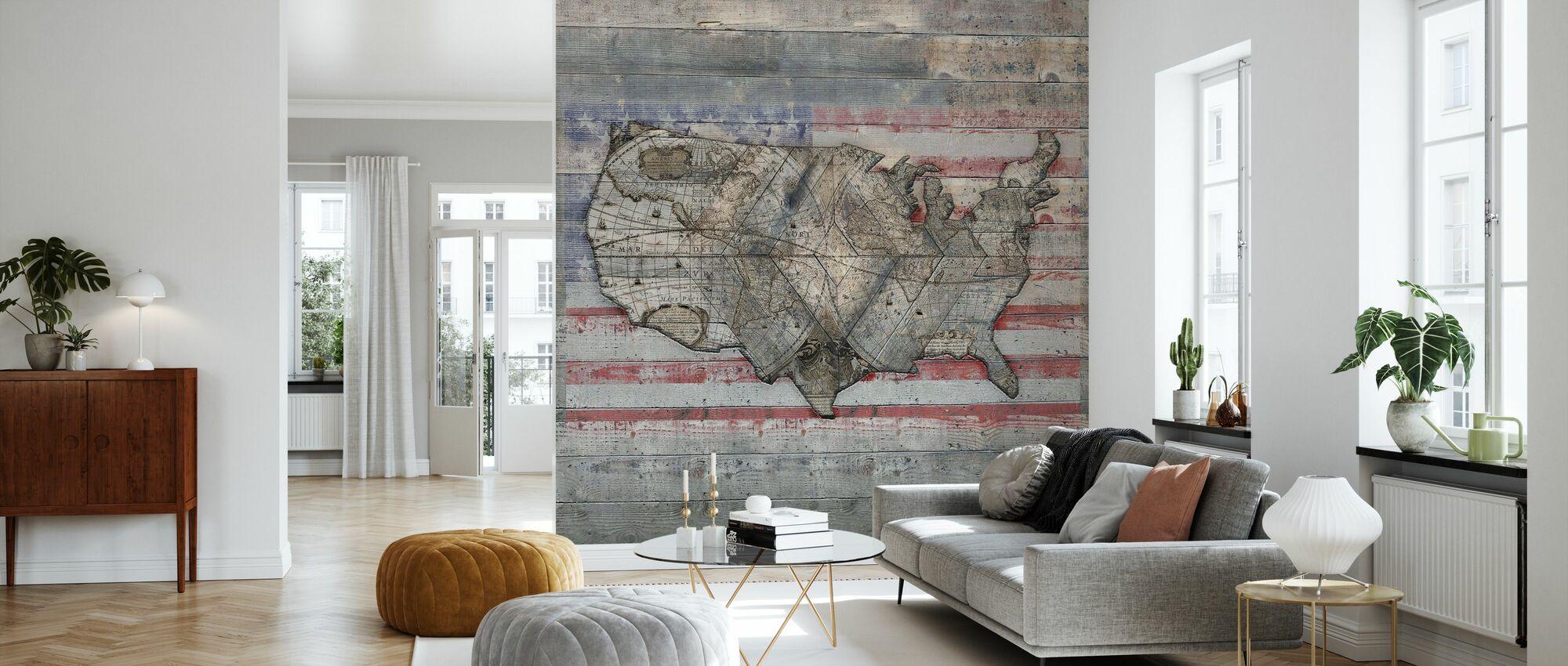 USA Map - Forever - Wallpaper - Living Room