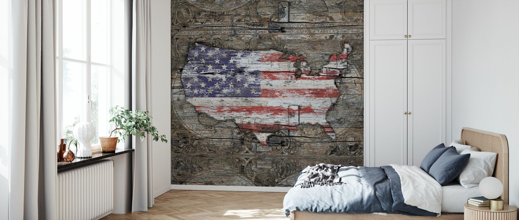 USA Map - I Carry Your Heart With Me - Wallpaper - Bedroom