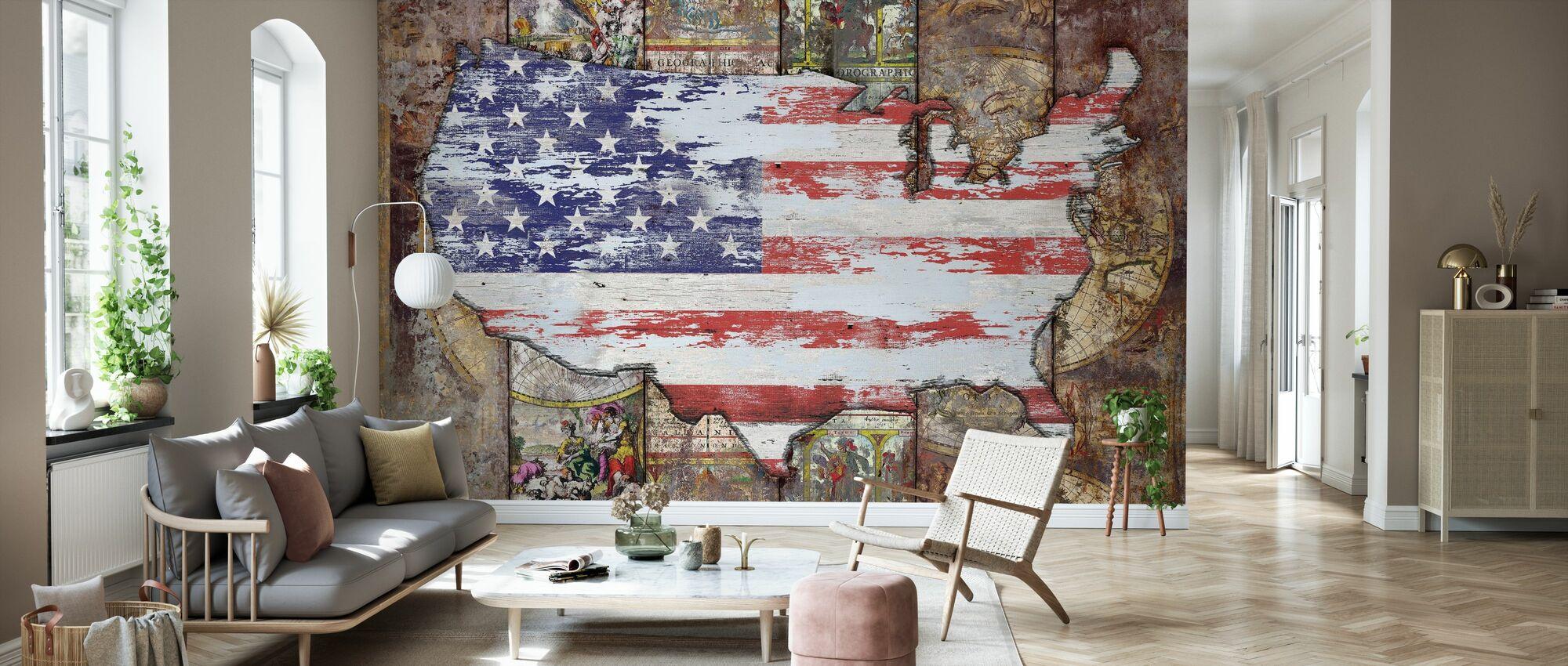 USA Map Flag - Wallpaper - Living Room